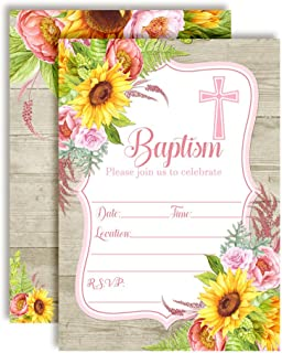 Watercolor Sunflower & Peony Baptism Invitations for Girls, 20 5