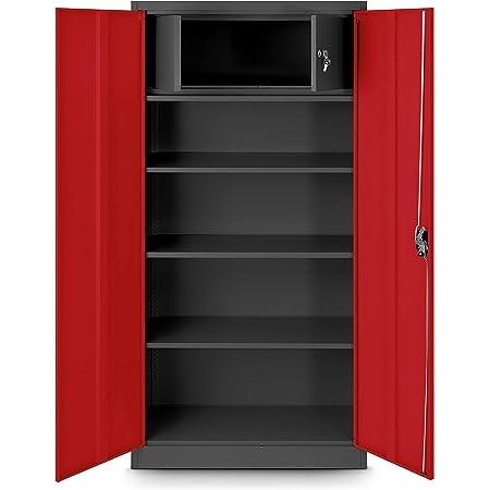 Jan Nowak by Domator24 Bureau avec Compartiment Secret C001D Armoire de Rangement métallique tôle d'acier revêtement en Poudre 185 cm x 90 cm x 45 cm (Anthracite/Rouge)