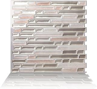 Tic Tac Tiles 10-Sheet Peel and Stick Self Adhesive Removable Stick On Kitchen Backsplash Bathroom 3D Wall Sticker Wallpaper Tiles in Como Sand