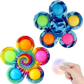 LONEA 2 Pcs Fidget Spinners,Simple to Dimple Fidget Toy,Pop Fidget Packs for Kids,Push-Pop Bubble Sensory Toys for Adults,...