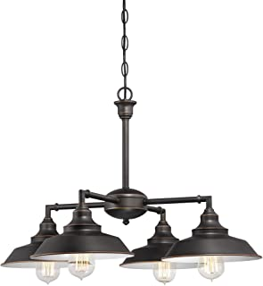 Westinghouse Lighting 6343300 Iron Hill Four-Light Indoor Convertible Chandelier/Semi-Flush Ceiling Fixture, Oil Rubbed Bronze Finish with Highlights and Metal Shades, White