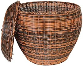 Basket Home in Style Rattan Laundry Basket Clothes Hamper Linen Storage Lidded Bin Box Laundry Supplies Holder Tidy (Color...