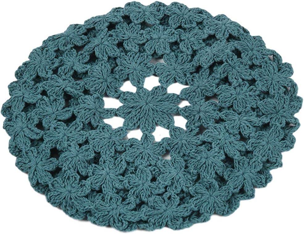 QUQUTWO Women Handmade Crochet Beret Cap Solid Color Hollow Floral Vintage Painter Hat Blue