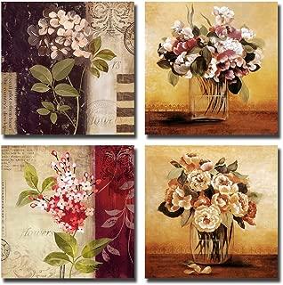 Gardenia - Retro Flowers Canvas Wall Art Prints 16 x 16 Inch Stretched and Framed Modern Decor Paintings Artwork Modern Wall Art Paintings for Room Decoration