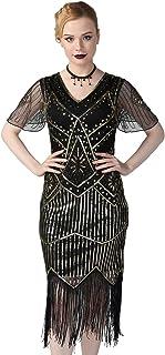 PrettyGuide Women's Short Sleeve 1920s Flapper Dress Glitter Sequin Inspired Fringed Cocktail Dress L Black Gold