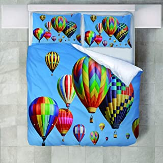 3Pcs Bedding Set 3D Printing Polyester Rising Colored Hot Air Balloon Duvet Cover And Pillowcases Home Decoration Queen 22...