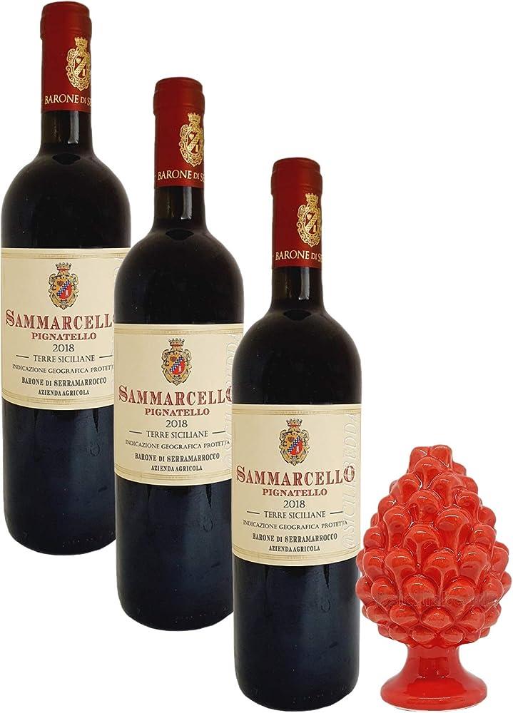 Sicilia bedda, sammarcello pignatello, 3 bottiglie di vino pluripremiato, igt, piu` pigna in ceramica