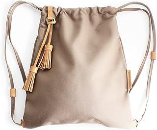 Vale BACKPACK, zaino zainetto canvas e cuoio, tela idrorepellente e cuoio italiano, marrone. Personalizzata con le tue ini...