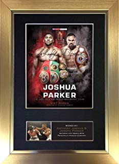 #721 Anthony Joshua V Joseph Parker March 2018 Signed Autograph Mounted Photo Reproduction Print A4 Rare Perfect Birthday (297 x 210mm) (Gold Frame)