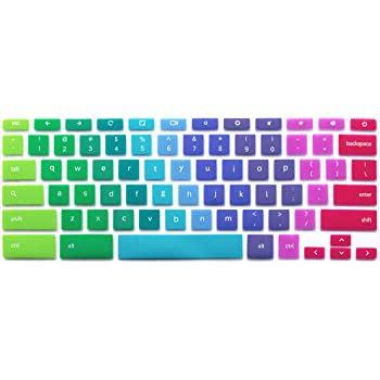 """Silicone Keyboard Cover Compatible for 2017/2018 Samsung Chromebook 11, 11.6"""" Samsung Chromebook 2 XE500C12, 11.6"""" Samsung Chromebook 3 XE500C13 XE501C13 (Rainbow)"""