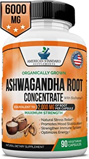 Ashwagandha, 6000mg per Serving, 2000 mg per Capsule, Organic Ashwagandha Root Powder, BioPerine Black Pepper Extract, Natural Stress Relief, Anxiety Relief, Thyroid Support, Mood Boost, 90 Vegan Caps