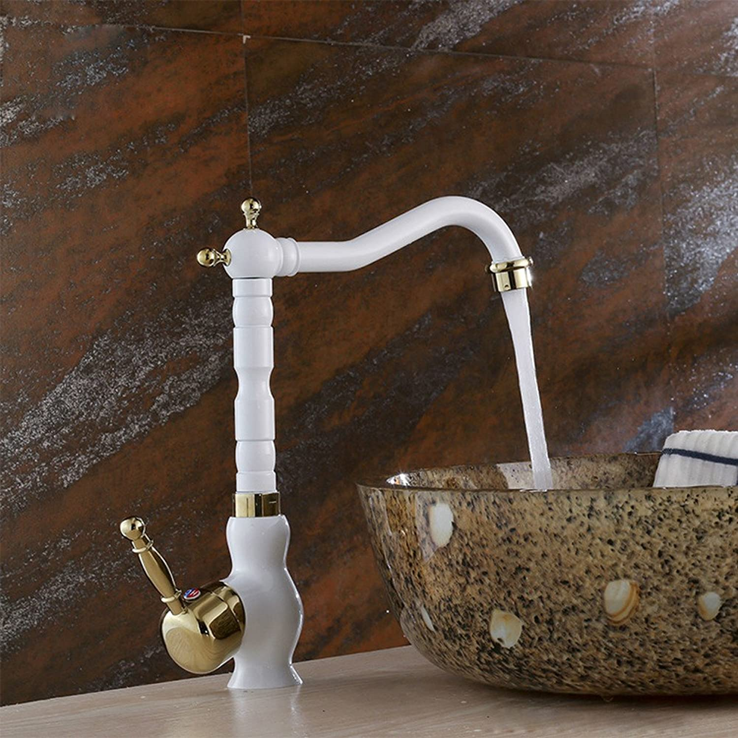 Commercial Single Lever Pull Down Kitchen Sink Faucet Brass Constructed Polished Full Copper Body Kitchen Faucet Porcelain White gold Kitchen Hot and Cold Sink Faucet Sink Dual Purpose