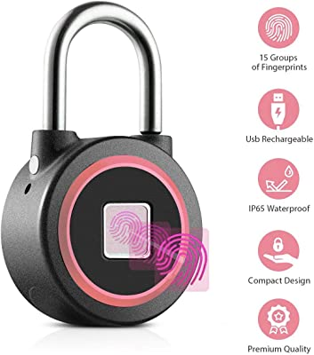 Fingerprint Padlock, Bluetooth, Waterproof, Anti Theft, keyless and biometric, Smart Lock Works with iOS & Android | Security Lock by GSi | usable for Gym, School, Luggage, cabinets | Metal (Pink)