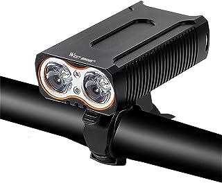 Greneric - Faro LED para bicicleta recargable por USB, 2000 mAh, IPX6, impermeable, fácil de instalar, 10 horas, fácil de ...