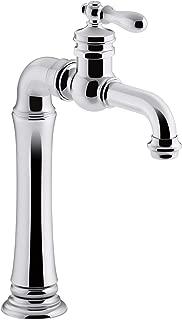 KOHLER K-99268-CP Artifacts Gentleman's Bar Sink Faucet, Polished Chrome, Single Handle, Prep Faucet, Secondary Faucet, Single Hole Installation, Entertainment Faucet