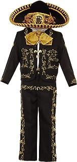 Rain Kids Boys Black Gold Rooster Embroidery Elegant 6 Pc Charro Suit 12M-6