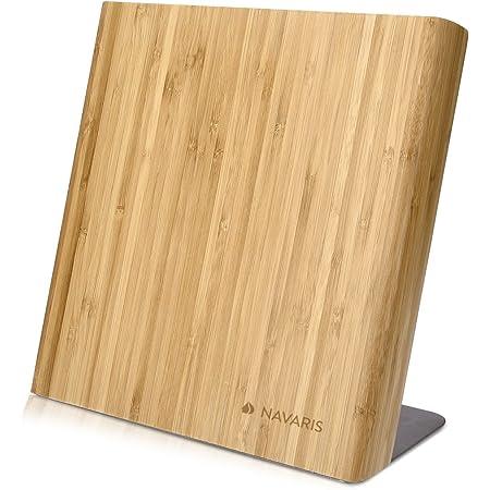 Navaris Bloc à Couteaux magnétique - Bloc aimanté en Bois de Bambou - Range Couteau de Cuisine Vide - Support avec Aimant