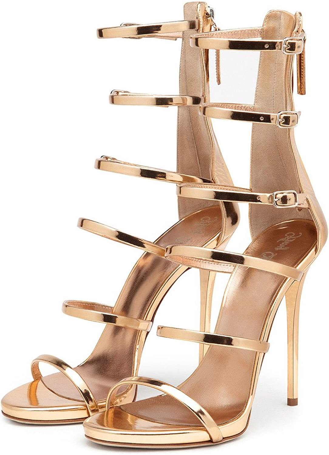 Amy Q Women Open Toe Buckle Ankle Strap High Heels Gladiator Sandals Boots Casual shoes