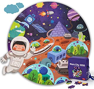 KaeKid 102 Pieces Outer Space Planet Floor Puzzles for Kids, Mars City 2050 Jigsaw Puzzles, Educational Learning Gifts for...