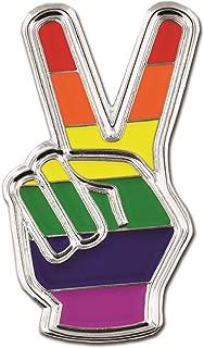 PinMart Gay Pride Peace Sign Finger LGBT Enamel Lapel Pin