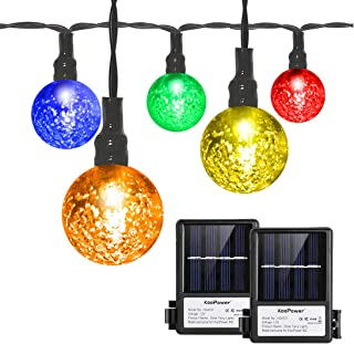 Koopower 2 Pack Solar Globe Fairy Lights 18ft 30 Led Crystal Ball String Lights 8 Modes Outdoor Globe Light for Wedding Garden Indoor Outdoor Decoration (Remote and Timer, 4 Colors)