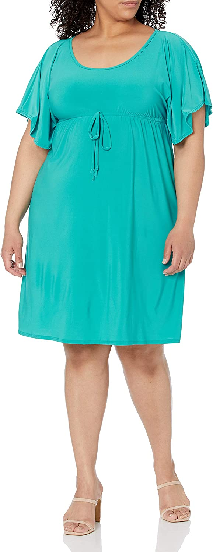 Star Vixen Women's Plus-Size Flutter-Sleeve Empire Dress