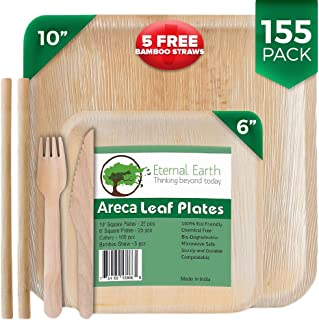 Eternal.Earth Disposable Areca Palm Leaf Plates | 10&6 Inch Square | 155 Piece Dinnerware Party Set | 50 Compostable Wood Forks & 50 Biodegradable Knives | +5 FREE Eco-Friendly Reusable Bamboo Straws