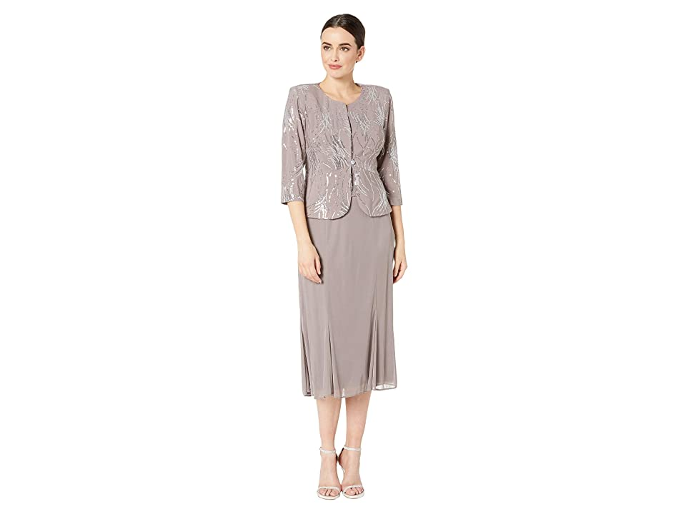 f7a68036099c3 Alex Evenings Tea Length Mock Jacket Dress with Sequin Detail (Pewter  Frost) Women