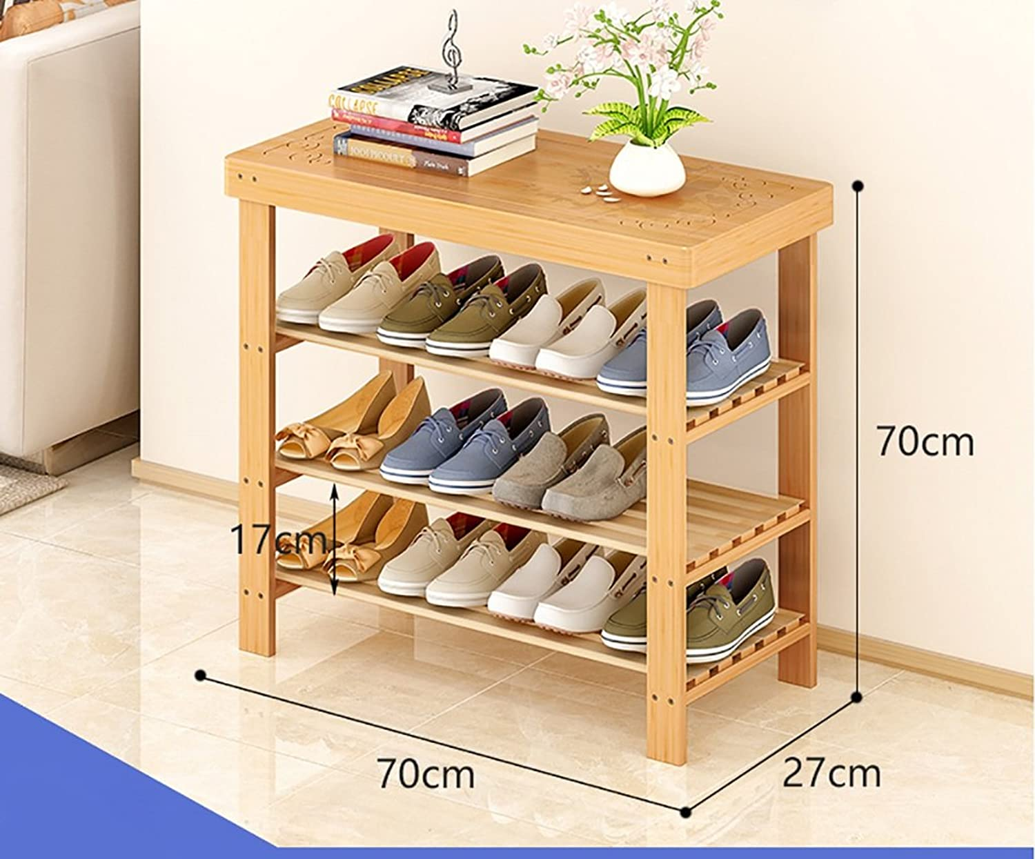 shoes Bench Organizing Rack shoes Rack, Three Bamboo Bamboo shoes Rack, Home Simple shoes Storage Rack, Living Room shoes Shelf (Size   70cm)