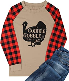 Gobble Gobble Y'all Thanksgiving T Shirt Women's Turkey Graphic Plaid Splicing Long Sleeve Raglan Tops Blouse