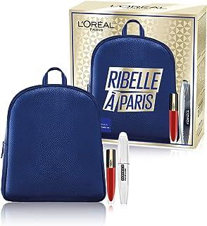 L'Oréal Paris Idea Regalo Donna Natale 2020, Zainetto con Mascara Volumizzante Ciglia Finte Farfalla e Rossetto Liquido Ro...