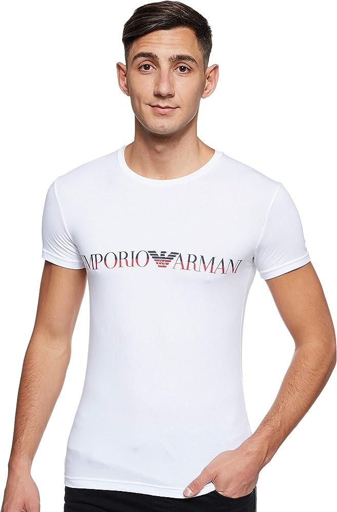 Emporio armani,underwear fashion megalogo,t-shirt,MAGLIET per uomo,maniche corte,95% cotone, 5% elastan 111035