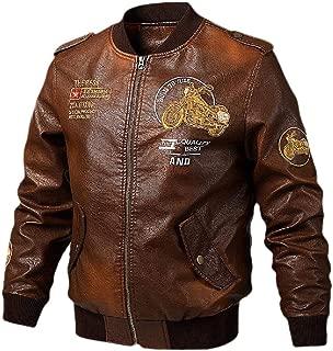 Mens Basic Leather Letter Man Baseball Varsity Jacket Bomber Outwears