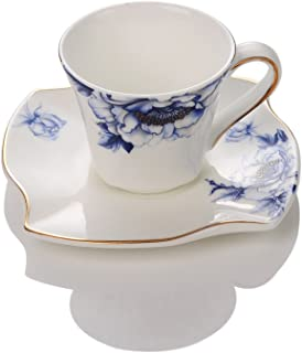 Porlien Porcelain 2-Ounce/80ml Small Espresso Cups Set of 4 with Saucers, Blue Floral