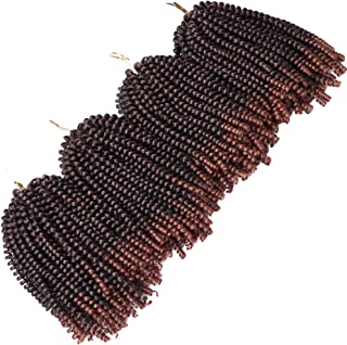 4 Pack Spring Twist Braids Ombre Colors Crochet Braids Synthetic Braiding Hair Extensions Low Temperature Fiber 8inch 100g (8 INCH, T1B/30)