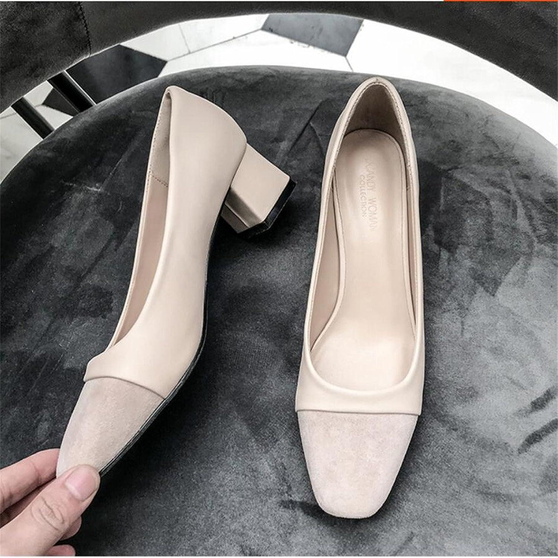 Xue Qiqi Court Schuhe Quadratischer Kopf rau mit Wilden flachen Mund beschuht zufällige Frauen mit Arbeitsschuhfußschuhen, 34, beige  | Vollständige Spezifikation  | Qualitätsprodukte  | Gutes Design