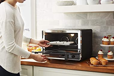 KitchenAid KCO255BM Dual Convection Countertop Toaster Oven, 12 preset cooking functions to roast, bake, fry meals, desserts,