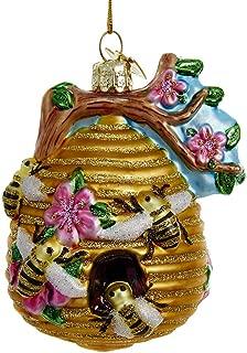 Kurt Adler Glass Glittered Beehive Ornament