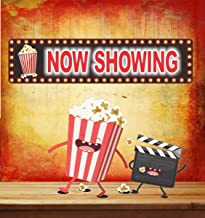 Novelty Home Theater Now Showing Sign with Classic Font, Flashbulb Border Effect and Popcorn or Movie Reel - Fun Sign Factory