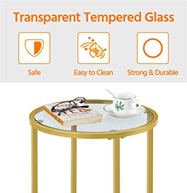 Yaheetech Coffee Table Set of 3, Round Coffee Table & 2pcs Accent End Table Easy Assembly w/Glass-Top Surface & Reinf