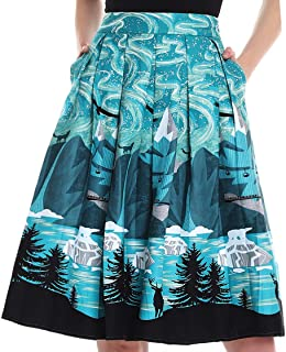 Women's Vintage A-line Printed Pleated Flared Skirts with Pocket