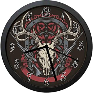 YiiHaanBuy Abstract Gothic Victorian Stag Deer Antelope Skull Shotguns in Antique-Stylish Silent Wall Clock, Clear Large Numbers, no Ticking, Unique Decoration - 10 inch