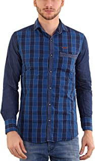 Rapphael Men's Checked Full Sleeve Multicolor Casual Shirt (Blue)(RPL-00098)