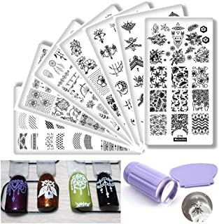 7Pcs Jewelry Pendant Nail Stamping Plates Sets plant Dream Catcher Steel Templates feather geometry Design Stencil Manicure Jelly Silicone Stamper Scraper Nail Tools