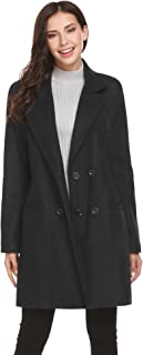 HOTOUCH Women Peacoat Winter Outdoor Wool Blended Classic double breasted Pea Coats Jacket