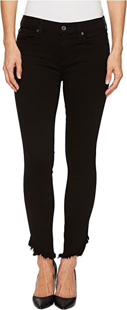 7 For All Mankind - The Ankle Skinny w/ Angled Raw Hem in Black