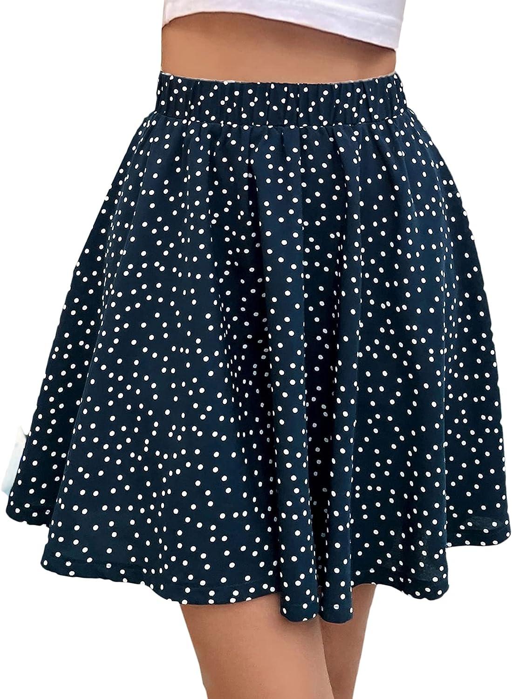 Milumia Women's Boho Polka Dots Skater Skirt Elastic Waist A Line Swing Short Skirts