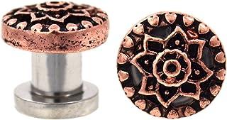 Pair of Sacred Lotus Flower Screw-Fit Ear Plugs Tunnels - 2 Gauge (6mm) Bronze-Tone Brass/Steel