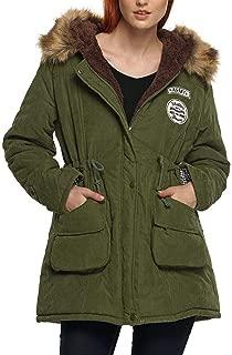 EASTHER Womens Hooded Parka Jacket Warm Winter Coat Faux Fur Lined Outwear