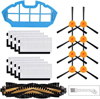 LesinaVac Replacement Filters and Brushes for Ecovacs Deebot N79 N79s DN622 500 N79w N79se Robotic Vacuum Cleaner.(8 Side Brushes,8 Filters,1 Main Brushes, 1 Primary Filter, 1 Cleaning Tool.)